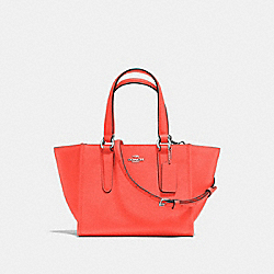 COACH F11925 - CROSBY CARRYALL 21 IN CROSSGRAIN LEATHER SILVER/BRIGHT ORANGE