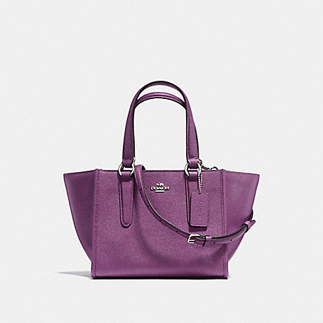 COACH F11925 CROSBY CARRYALL 21 IN CROSSGRAIN LEATHER SILVER/MAUVE