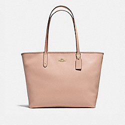 LARGE CITY ZIP TOTE IN CROSSGRAIN LEATHER - f11926 - IMITATION GOLD/NUDE PINK