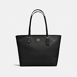 LARGE CITY ZIP TOTE IN CROSSGRAIN LEATHER - f11926 - IMITATION GOLD/BLACK