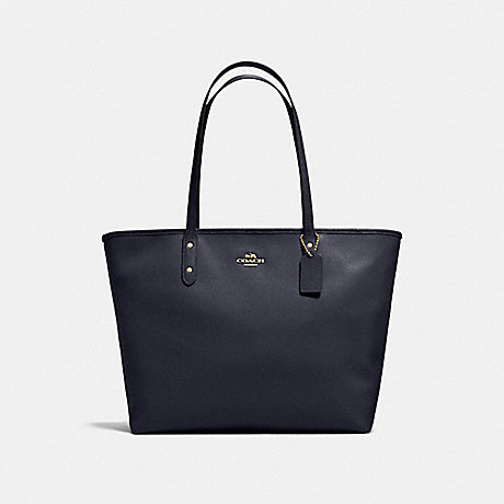 COACH f11926 LARGE CITY ZIP TOTE IN CROSSGRAIN LEATHER IMITATION GOLD/MIDNIGHT