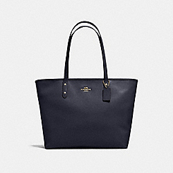 LARGE CITY ZIP TOTE IN CROSSGRAIN LEATHER - f11926 - IMITATION GOLD/MIDNIGHT
