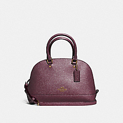 MINI SIERRA SATCHEL IN GLITTER CROSSGRAIN LEATHER - f11927 - LIGHT GOLD/OXBLOOD 1