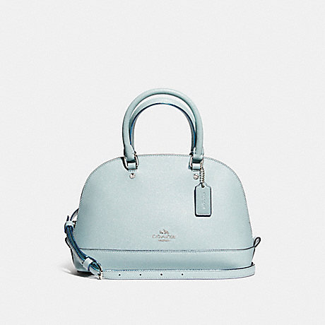 COACH f11927 MINI SIERRA SATCHEL IN GLITTER CROSSGRAIN LEATHER SILVER/AQUA