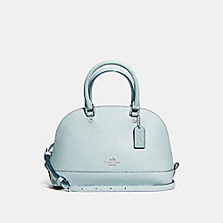 MINI SIERRA SATCHEL IN GLITTER CROSSGRAIN LEATHER - f11927 - SILVER/AQUA