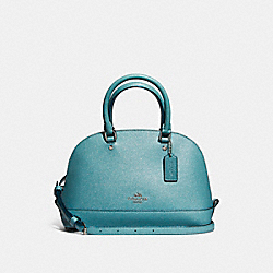 MINI SIERRA SATCHEL IN GLITTER CROSSGRAIN LEATHER - f11927 - SILVER/DARK TEAL