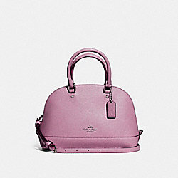 MINI SIERRA SATCHEL IN GLITTER CROSSGRAIN LEATHER - f11927 - SILVER/LILAC