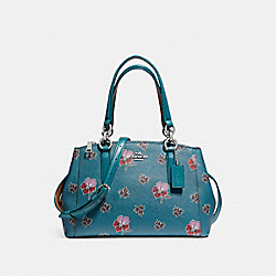 COACH F11932 - MINI CHRISTIE CARRYALL IN WILDFLOWER PRINT COATED CANVAS SILVER/DARK TEAL