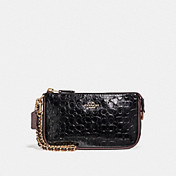 COACH F11940 Large Wristlet 19 In Signature Debossed Patent Leather LIGHT GOLD/BLACK