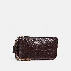 COACH LARGE WRISTLET 19 IN SIGNATURE DEBOSSED PATENT LEATHER - LIGHT GOLD/OXBLOOD 1 - F11940