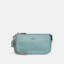 COACH F11940 Large Wristlet 19 In Signature Debossed Patent Leather SILVER/AQUA