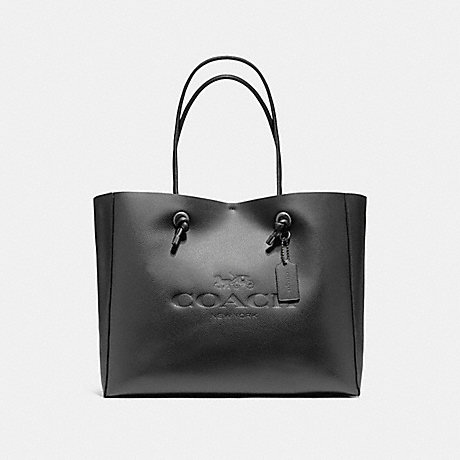 COACH f11941 SHOPPING TOTE 39 IN POLISHED PEBBLE LEATHER BLACK ANTIQUE NICKEL/BLACK