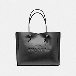 SHOPPING TOTE 39 IN POLISHED PEBBLE LEATHER - f11941 - BLACK ANTIQUE NICKEL/BLACK