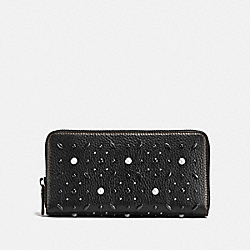 ACCORDION ZIP WALLET WITH PRAIRIE RIVETS - F11943 - BLACK/BLACK COPPER