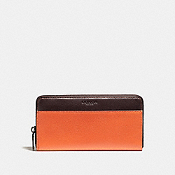 COACH ACCORDION WALLET IN COLORBLOCK LEATHER - CORAL - F11947