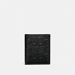 SLIM WALLET IN SIGNATURE CROSSGRAIN LEATHER - f11970 - BLACK