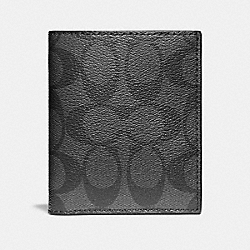 SLIM WALLET IN SIGNATURE COATED CANVAS - f11971 - CHARCOAL/BLACK