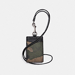 ID LANYARD IN SIGNATURE CAMO COATED CANVAS - f11984 - MAHOGANY/DARK GREEN CAMO