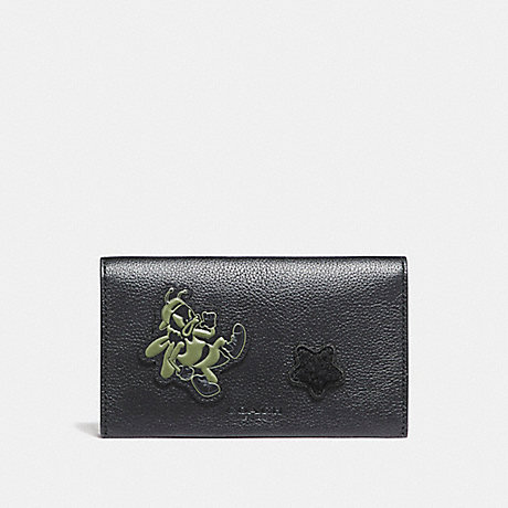 COACH f12006 UNIVERSAL PHONE CASE IN SMOOTH CALF LEATHER WITH VARSITY PATCHES BLACK