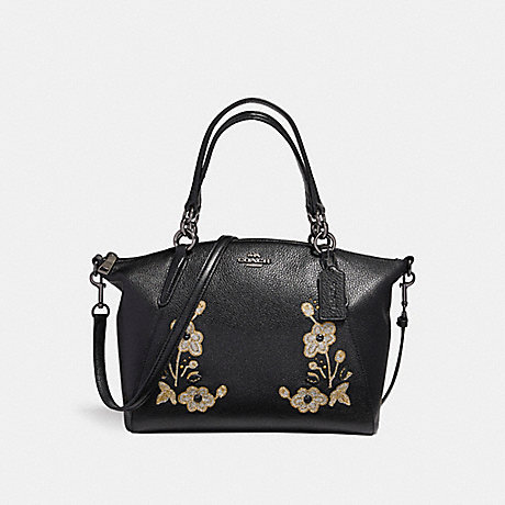 COACH f12007 SMALL KELSEY SATCHEL IN PEBBLE LEATHER WITH FLORAL EMBROIDERY ANTIQUE NICKEL/BLACK