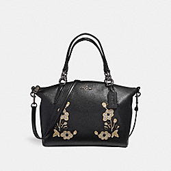 SMALL KELSEY SATCHEL IN PEBBLE LEATHER WITH FLORAL EMBROIDERY - f12007 - ANTIQUE NICKEL/BLACK