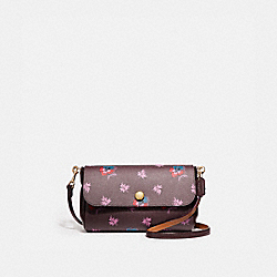 REVERSIBLE CROSSBODY IN WILDFLOWER PRINT COATED CANVAS - f12012 - LIGHT GOLD/OXBLOOD 1