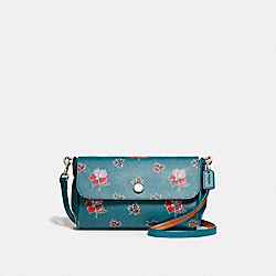 REVERSIBLE CROSSBODY IN WILDFLOWER PRINT COATED CANVAS - f12012 - SILVER/DARK TEAL
