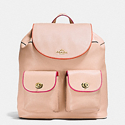 BILLIE BACKPACK IN NATURAL REFINED PEBBLE LEATHER WITH MULTI EDGEPAINT - f12014 - IMITATION GOLD/NUDE PINK MULTI