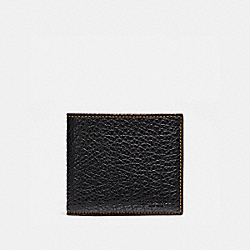DOUBLE BILLFOLD WALLET IN BUFFALO EMBOSSED LEATHER - f12021 - BLACK