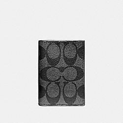 COACH F12025 Bifold Card Case In Signature Coated Canvas CHARCOAL/BLACK