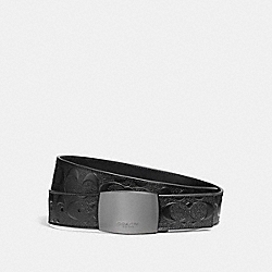 WIDE PLAQUE CUT-TO-SIZE REVERSIBLE SIGNATURE CROSSGRAIN LEATHER BELT - f12026 - BLACK/BLACK