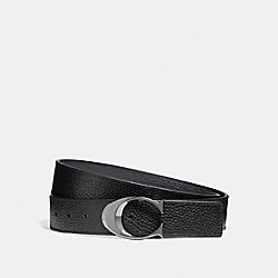 COACH F12027 Wide Sculpted C Pebble Leather Belt BLACK/MIDNIGHT