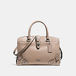 MERCER SATCHEL 30 WITH PAINTED TEA ROSE AND TOOLING - f12030 - LIGHT ANTIQUE NICKEL/STONE MULTI