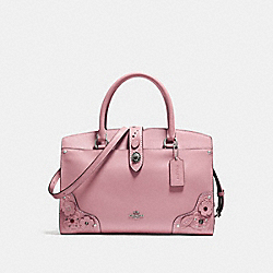 MERCER SATCHEL 30 WITH TEA ROSE AND TOOLING - f12031 - LIGHT ANTIQUE NICKEL/DUSTY ROSE