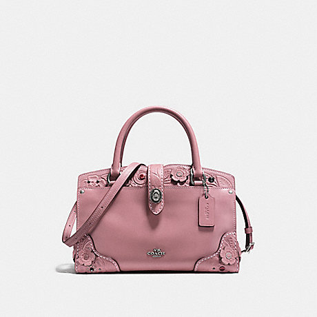COACH f12032 MERCER SATCHEL 24 WITH TEA ROSE TOOLING DUSTY ROSE/LIGHT ANTIQUE NICKEL