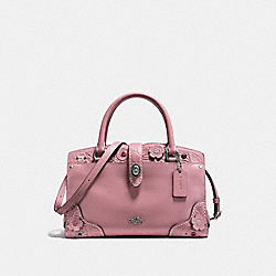 MERCER SATCHEL 24 WITH TEA ROSE TOOLING - f12032 - DUSTY ROSE/LIGHT ANTIQUE NICKEL