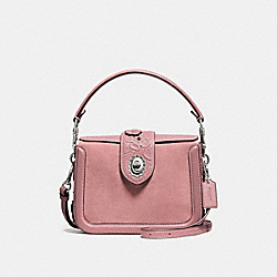 PAGE CROSSBODY WITH TEA ROSE TOOLING - f12033 - LIGHT ANTIQUE NICKEL/DUSTY ROSE