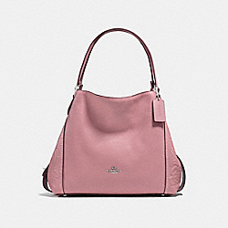 EDIE SHOULDER BAG 31 WITH TEA ROSE TOOLING - f12034 - DUSTY ROSE/LIGHT ANTIQUE NICKEL