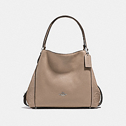 EDIE SHOULDER BAG 31 WITH TEA ROSE TOOLING - f12034 - LIGHT ANTIQUE NICKEL/STONE