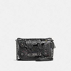 COACH F12038 - COACH SWAGGER SHOULDER BAG 20 WITH TEA ROSE TOOLING BLACK/DARK GUNMETAL