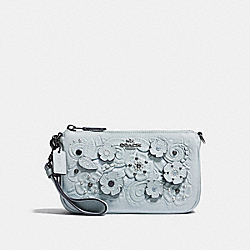 COACH F12055 Nolita Wristlet 19 With Tea Rose And Tooling DARK GUNMETAL/PALE BLUE