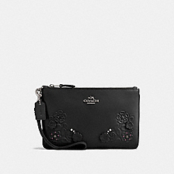 SMALL WRISTLET WITH TEA ROSE AND TOOLING - f12056 - BLACK/DARK GUNMETAL