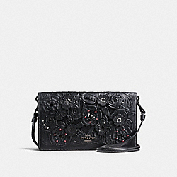 FOLDOVER CROSSBODY CLUTCH WITH TEA ROSE AND TOOLING - f12057 - BLACK/DARK GUNMETAL
