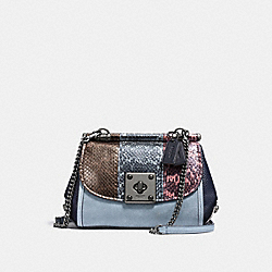 DRIFTER CROSSBODY WITH STRIPED MIXED SNAKESKIN - f12068 - DARK GUNMETAL/SNAKE MULTI