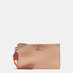 COACH CROSBY CLUTCH IN NATURAL REFINED LEATHER WITH PYTHON EMBOSSED LEATHER TRIM - SILVER/NUDE PINK MULTI - F12074