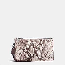 COACH F12075 - CROSBY CLUTCH IN PYTHON EMBOSSED LEATHER SILVER/CHALK MULTI