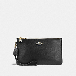 CROSBY CLUTCH IN CROSSGRAIN LEATHER - f12081 - IMITATION GOLD/BLACK