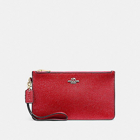 COACH f12081 CROSBY CLUTCH IN CROSSGRAIN LEATHER LIGHT GOLD/TRUE RED