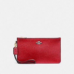 CROSBY CLUTCH IN CROSSGRAIN LEATHER - f12081 - LIGHT GOLD/TRUE RED