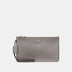 CROSBY CLUTCH IN CROSSGRAIN LEATHER - f12081 - SILVER/HEATHER GREY